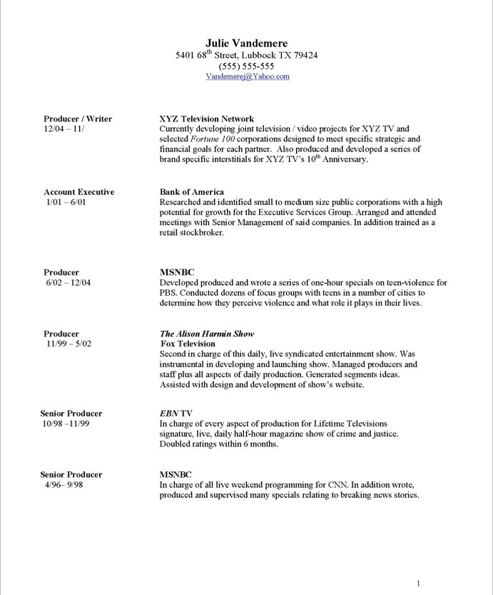 Resume Samples  Tv Producer  Blue Sky Resumes Blog