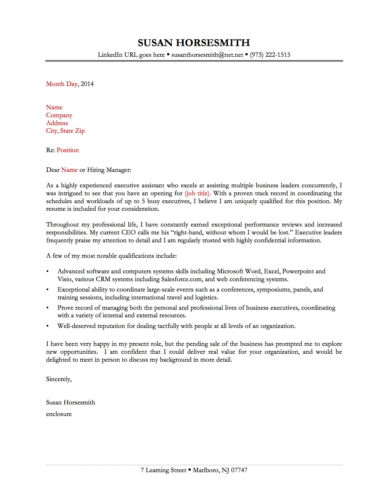 sample cover letter 1 - Great Job Cover Letters