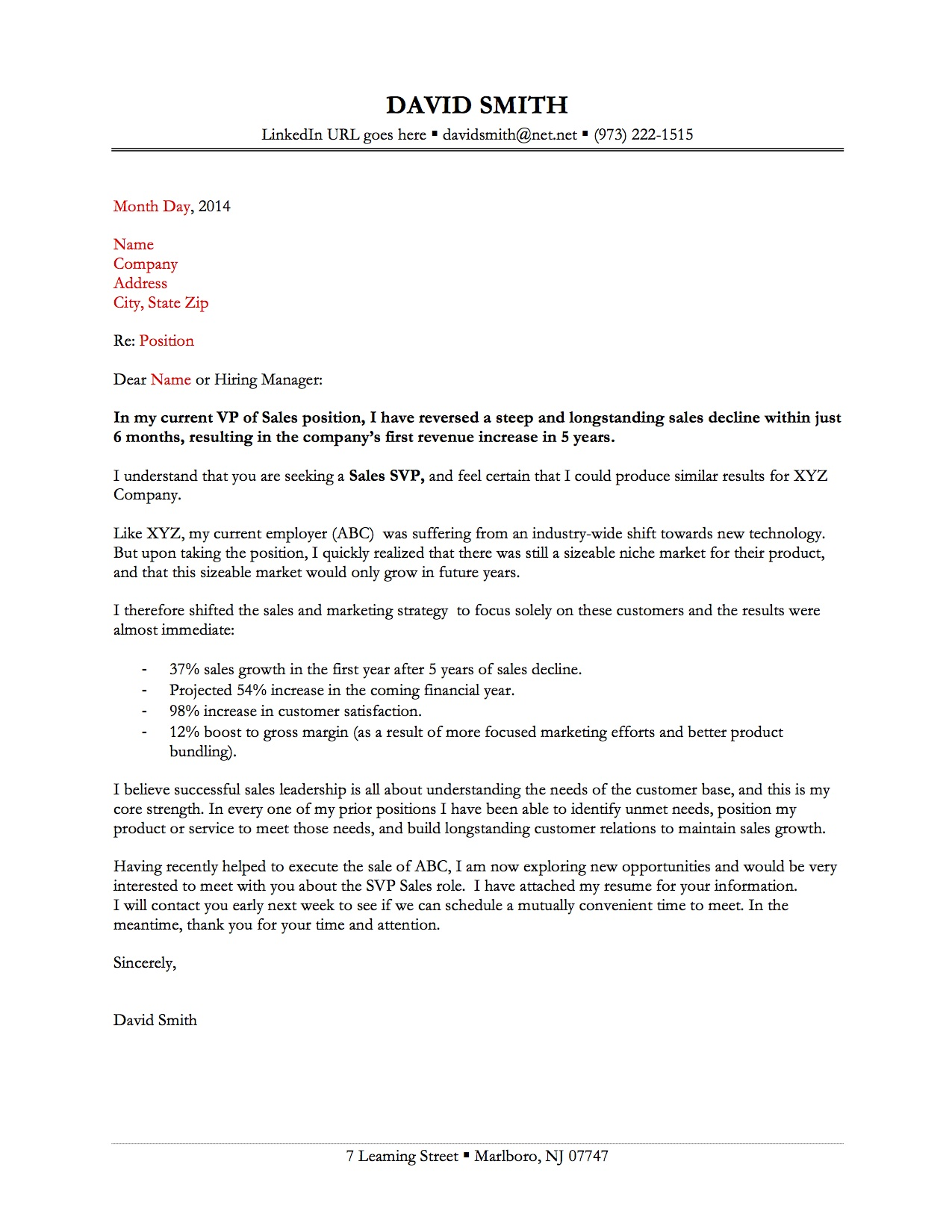 A great sample of a cover letter