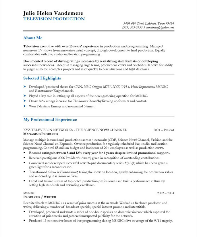 Tv Production Manager Resume