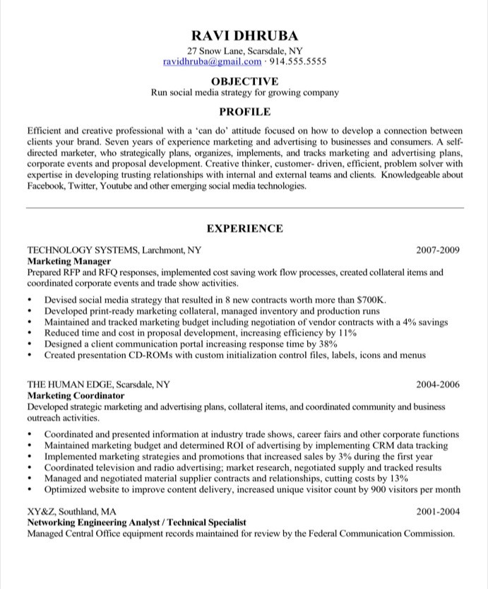 sample resume makeover  social media marketing